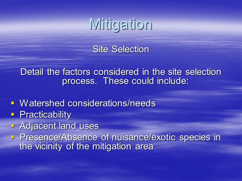 Mitigation Site Selection