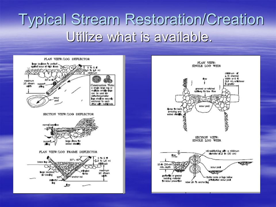 Typical Stream Restoration/Creation Utilize what is available.