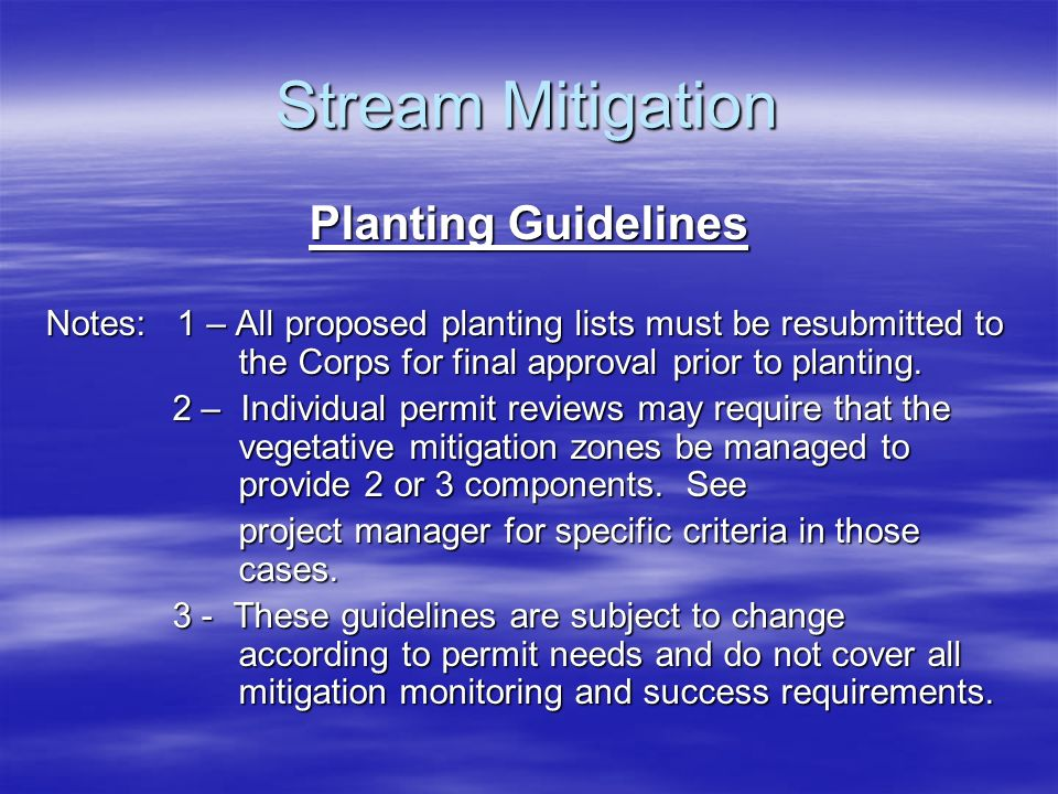 Stream Mitigation Planting Guidelines