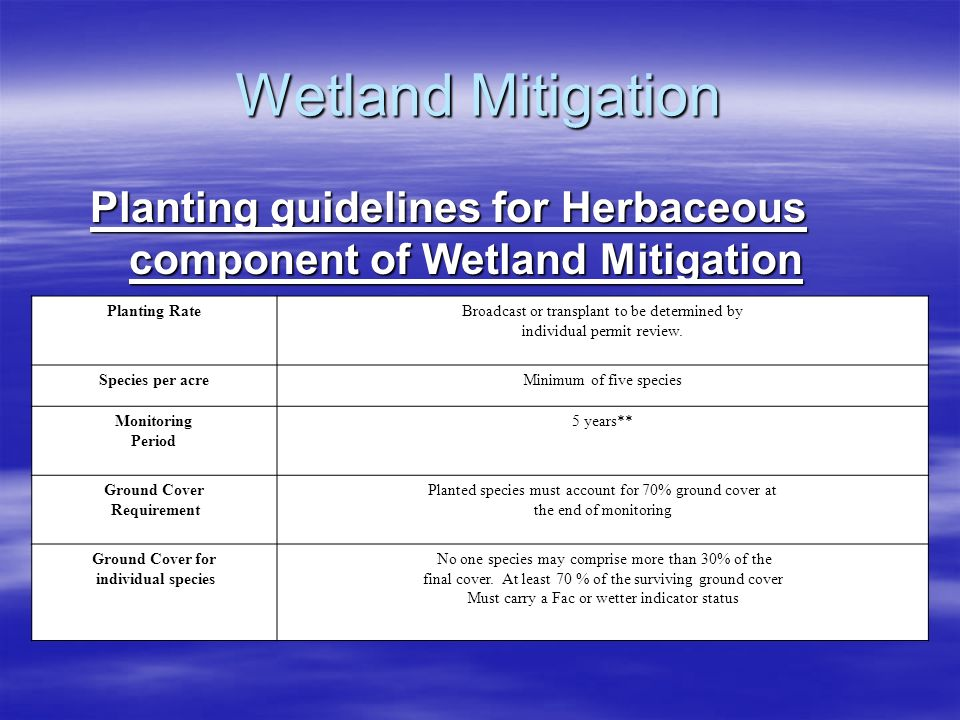 Wetland Mitigation Planting guidelines for Herbaceous component of Wetland Mitigation. Planting Rate.