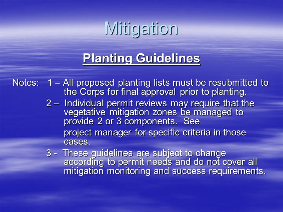 Mitigation Planting Guidelines