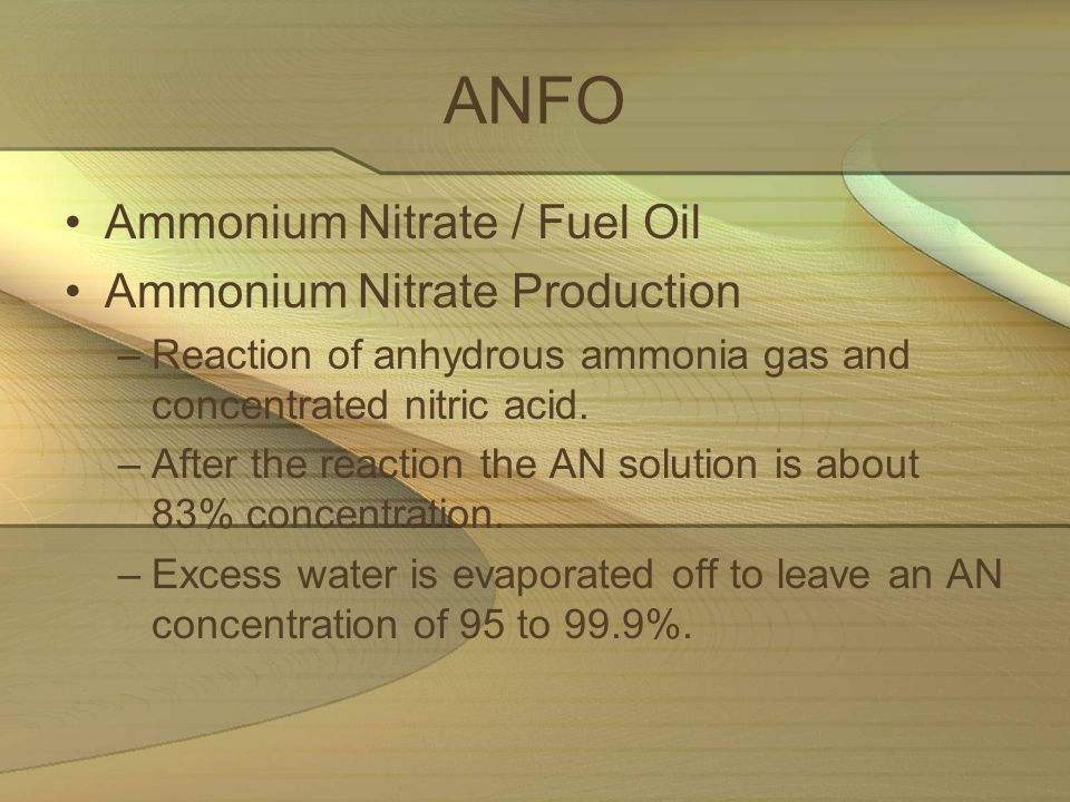 ANFO Ammonium Nitrate / Fuel Oil Ammonium Nitrate Production