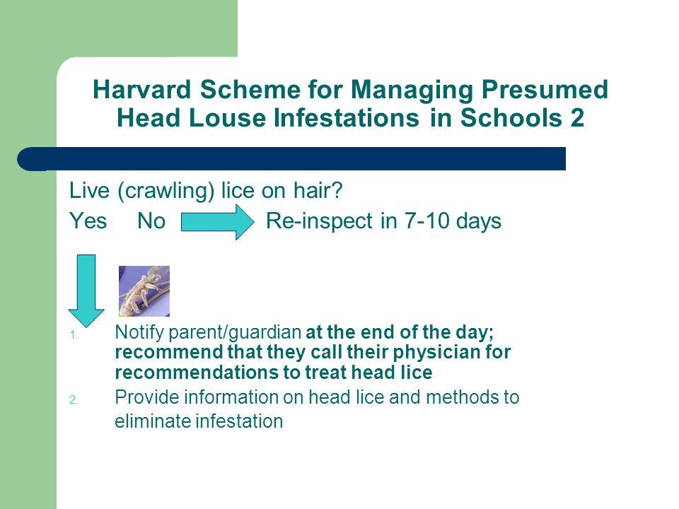 Harvard Scheme for Managing Presumed Head Louse Infestations in Schools 2