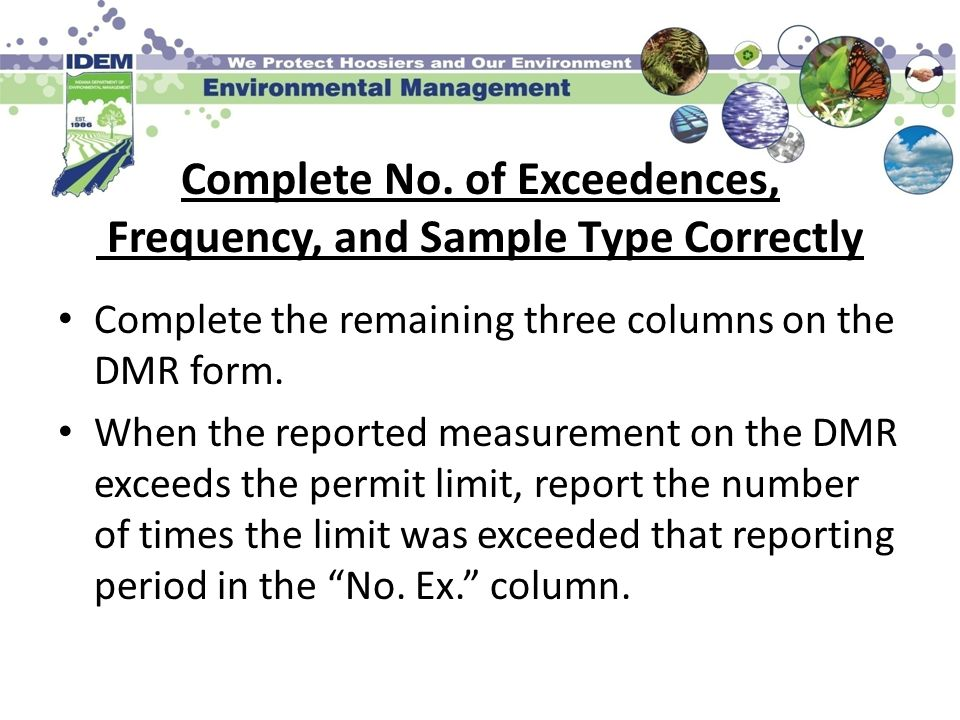 Complete No. of Exceedences, Frequency, and Sample Type Correctly