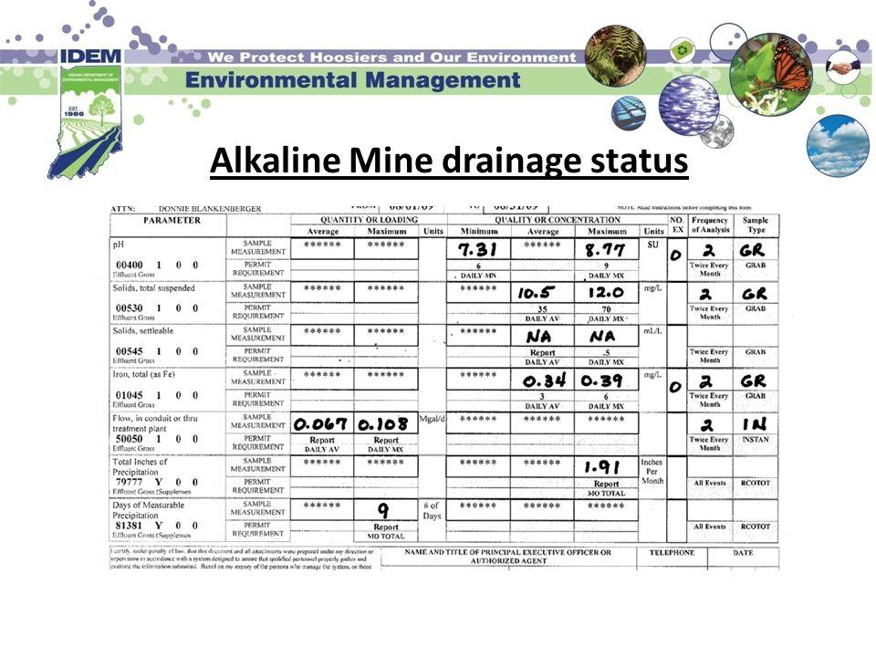 Alkaline Mine drainage status