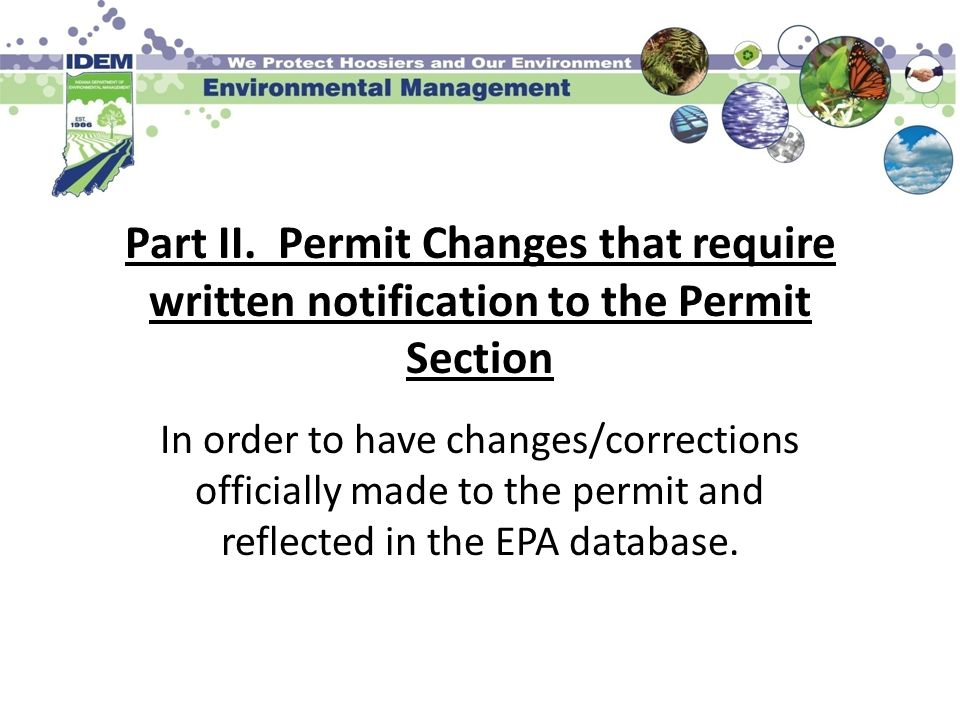 Part II. Permit Changes that require written notification to the Permit Section