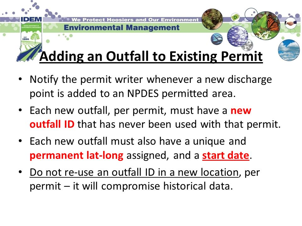 Adding an Outfall to Existing Permit