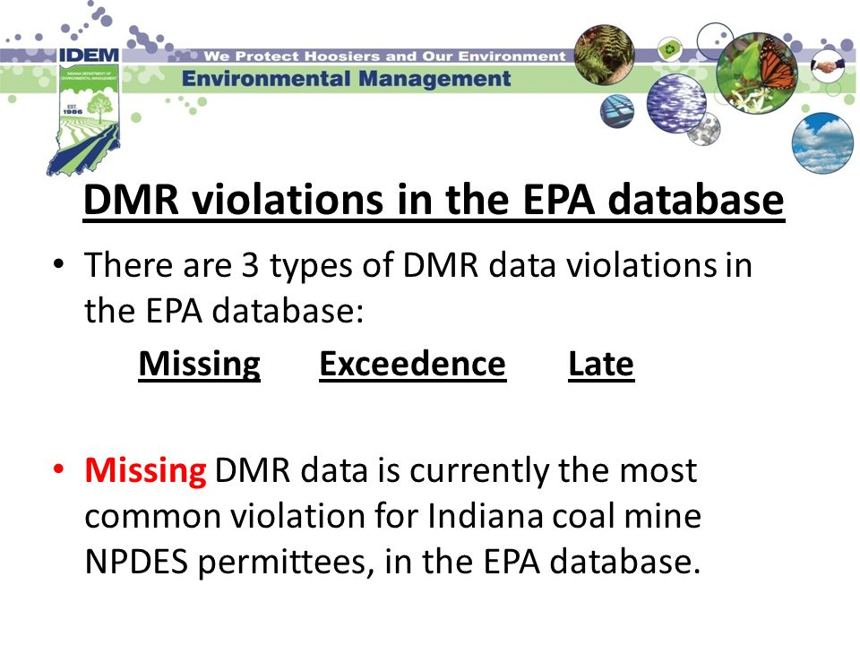 DMR violations in the EPA database