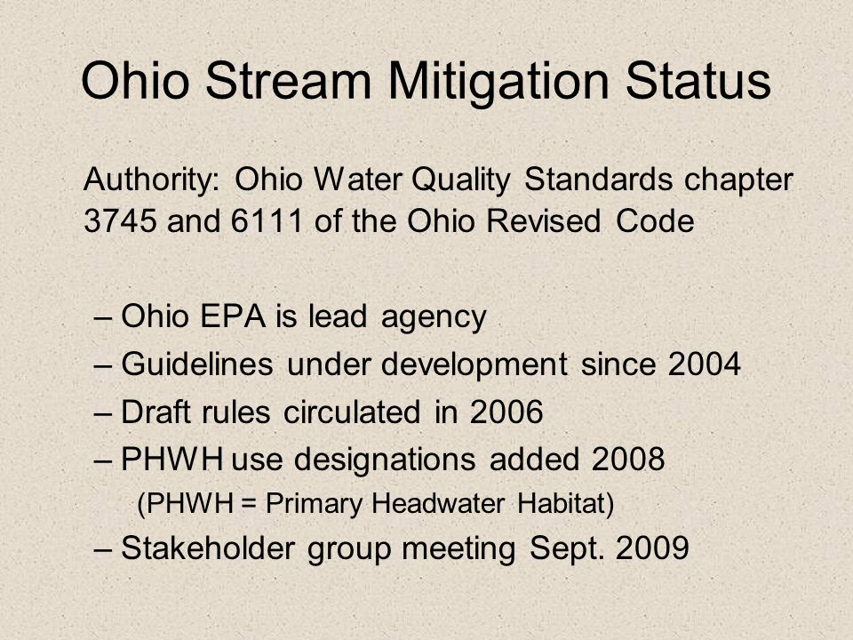Ohio Stream Mitigation Status