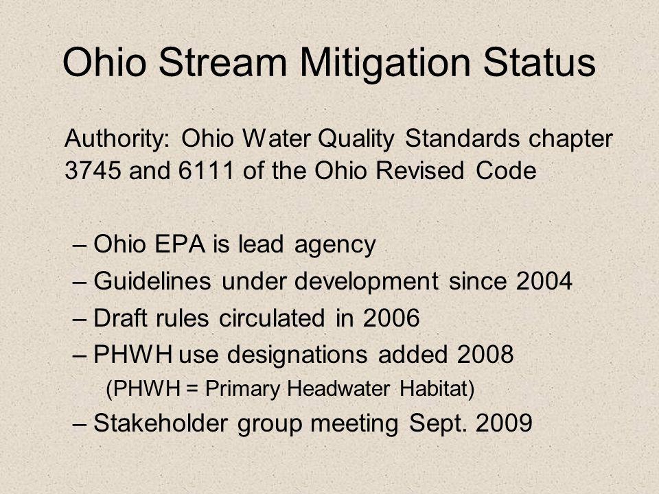 Ohio Stream Mitigation Status