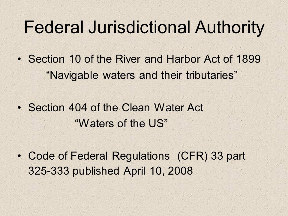 Federal Jurisdictional Authority