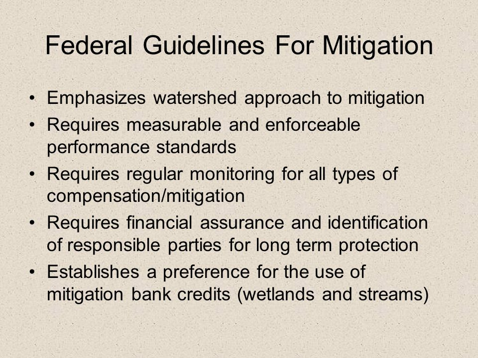 Federal Guidelines For Mitigation