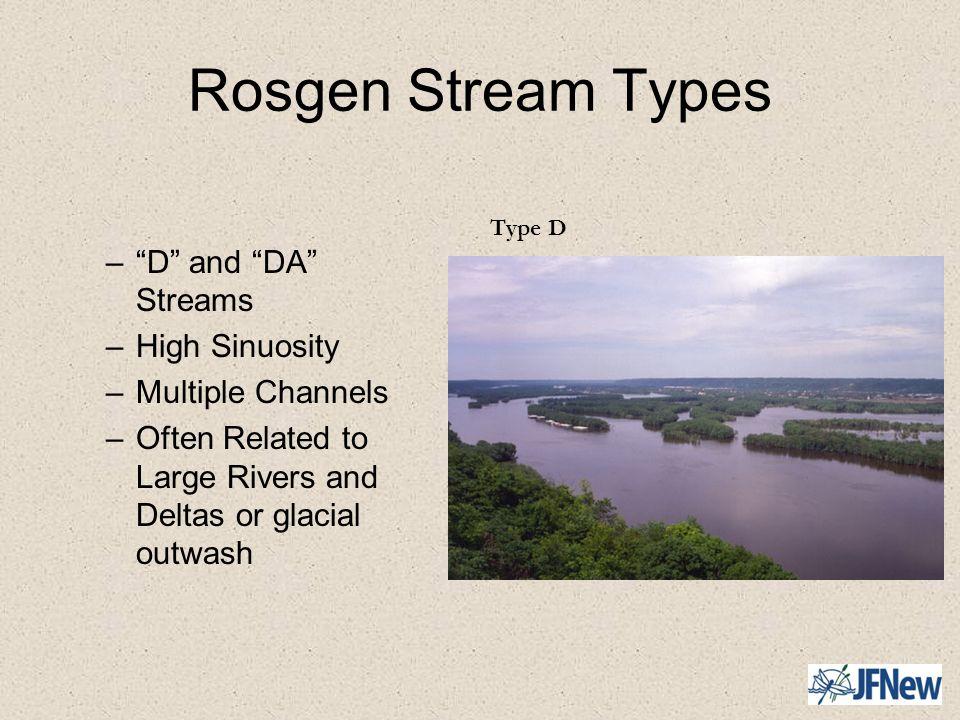 Rosgen Stream Types D and DA Streams High Sinuosity