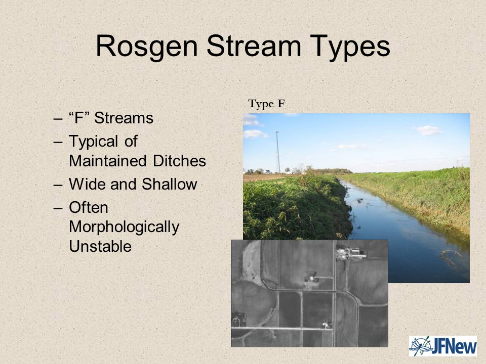 Rosgen Stream Types F Streams Typical of Maintained Ditches