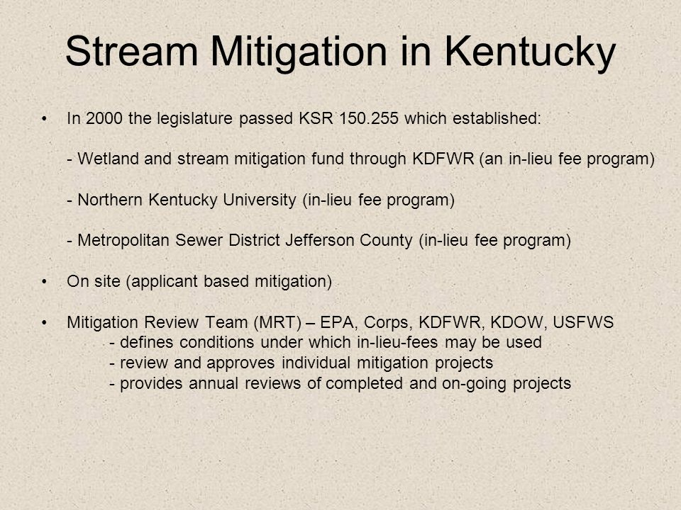 Stream Mitigation in Kentucky