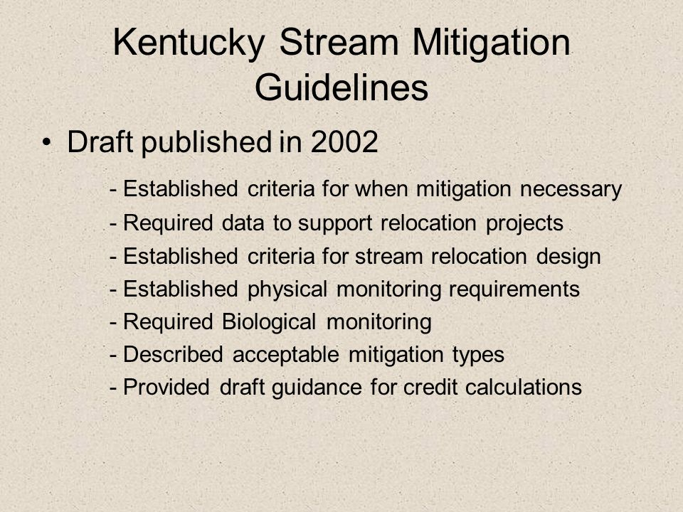 Kentucky Stream Mitigation Guidelines