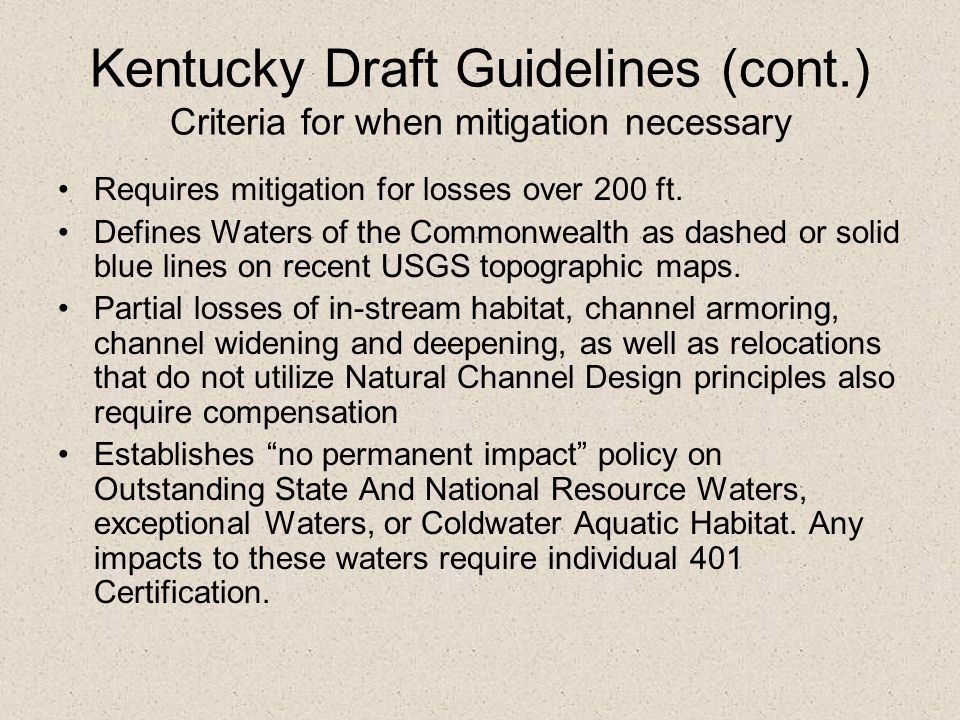 Kentucky Draft Guidelines (cont