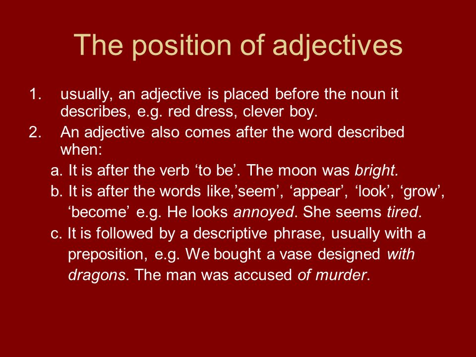 The position of adjectives