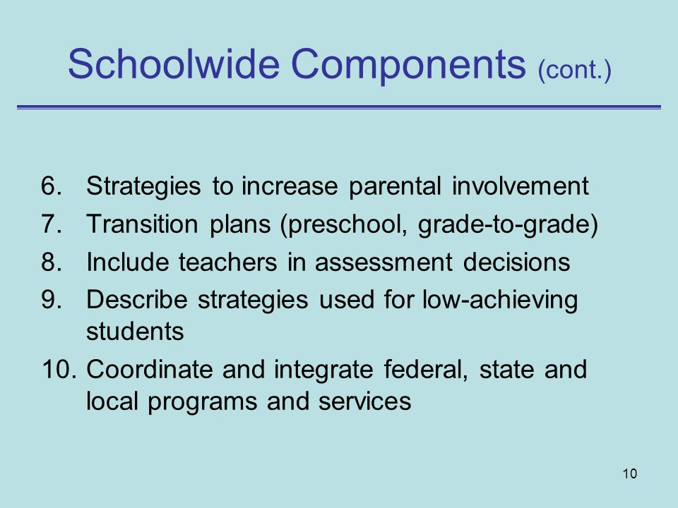 Schoolwide Components (cont.)