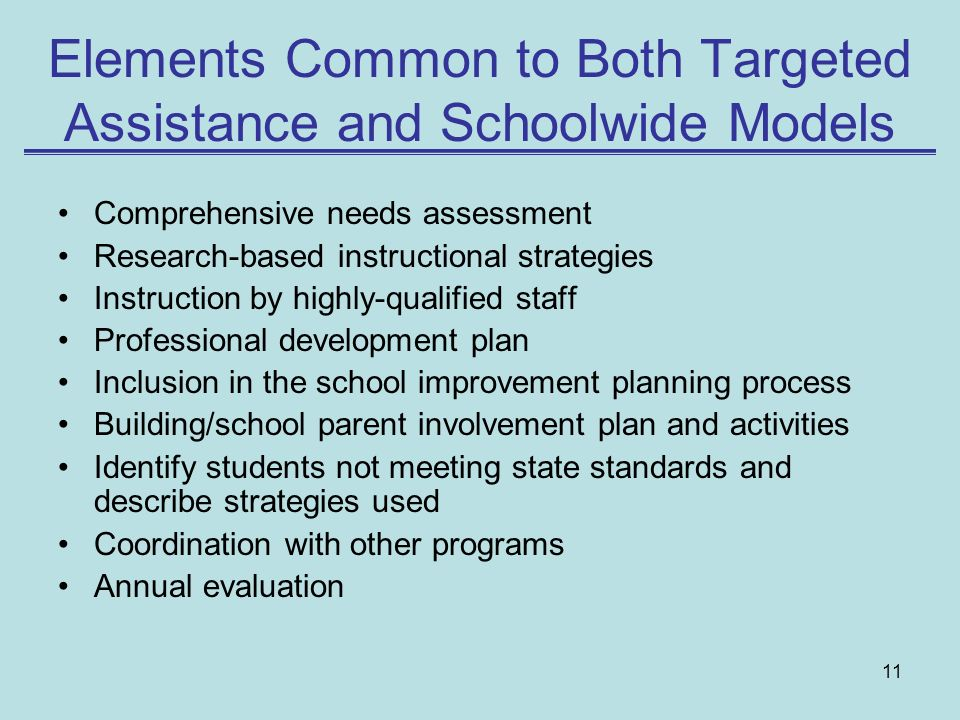 Elements Common to Both Targeted Assistance and Schoolwide Models