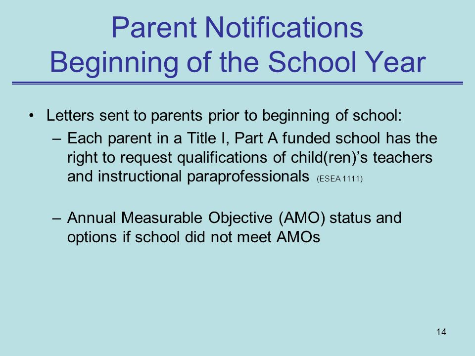 Parent Notifications Beginning of the School Year