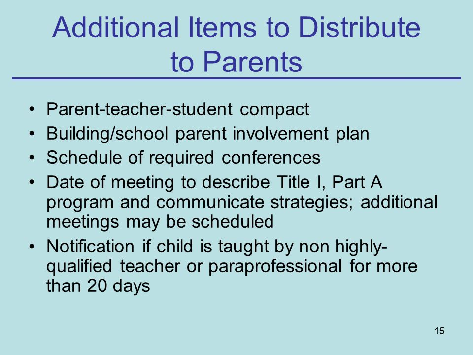 Additional Items to Distribute to Parents