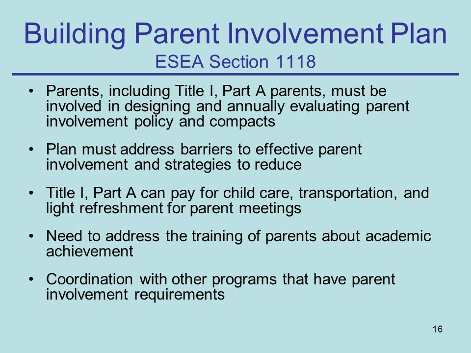 Building Parent Involvement Plan ESEA Section 1118