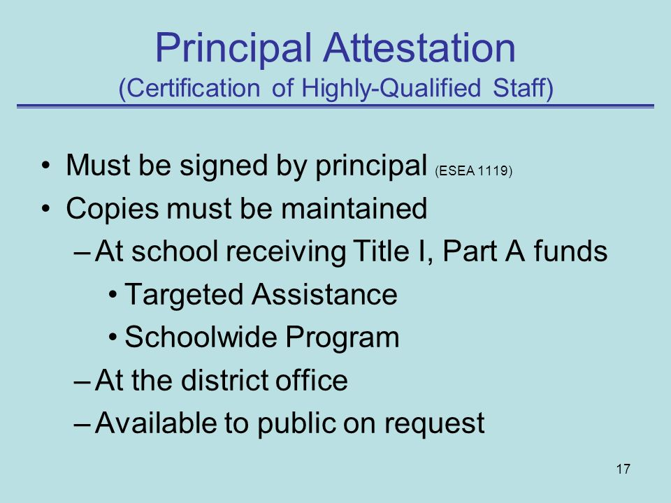 Principal Attestation (Certification of Highly-Qualified Staff)