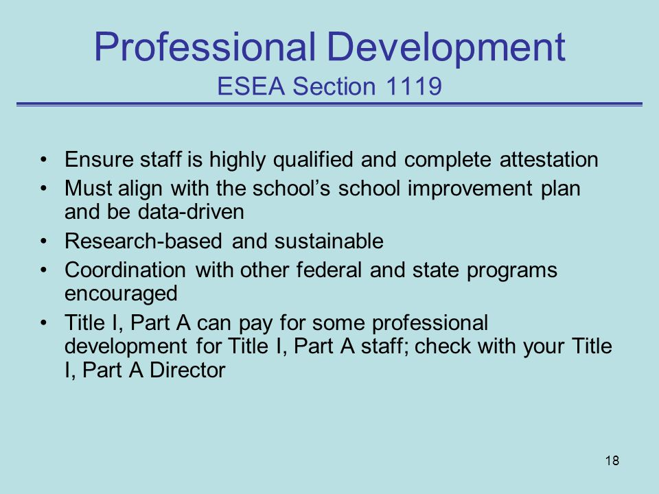 Professional Development ESEA Section 1119
