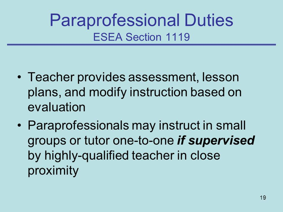 Paraprofessional Duties ESEA Section 1119