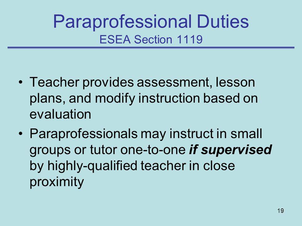 Paraprofessional Duties ESEA Section 1119
