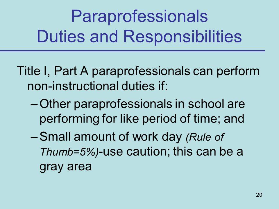 Paraprofessionals Duties and Responsibilities