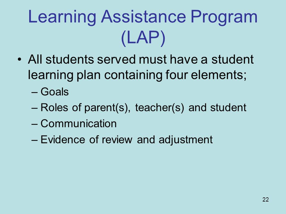 Learning Assistance Program (LAP)