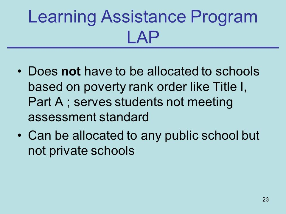 Learning Assistance Program LAP