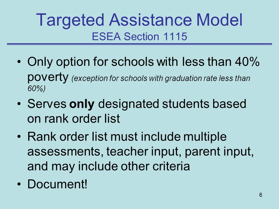 Targeted Assistance Model ESEA Section 1115