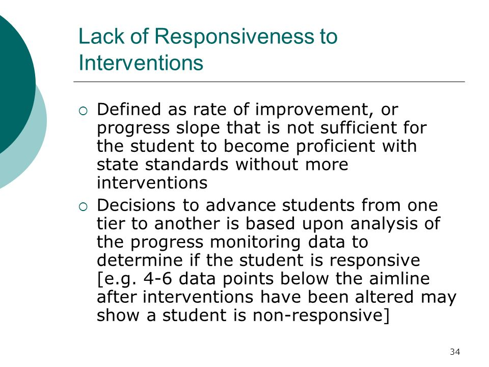 Lack of Responsiveness to Interventions