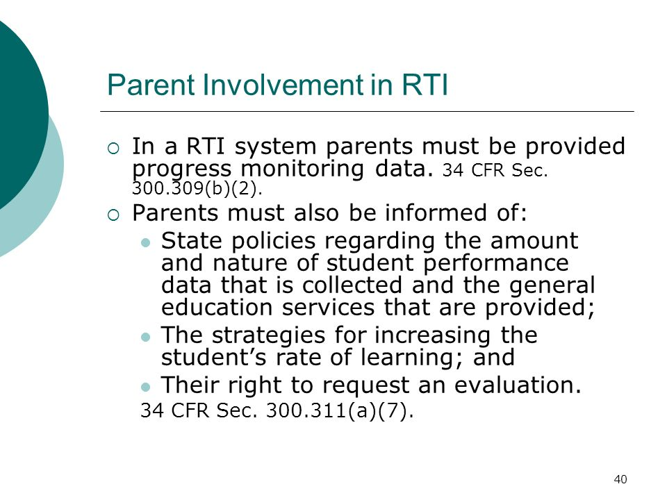 Parent Involvement in RTI