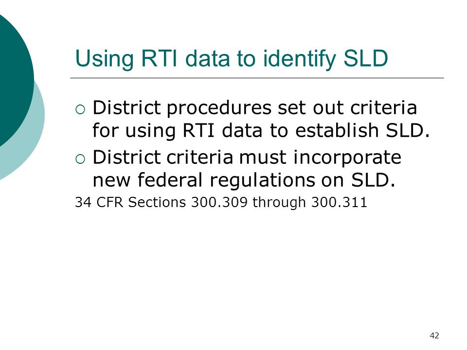 Using RTI data to identify SLD