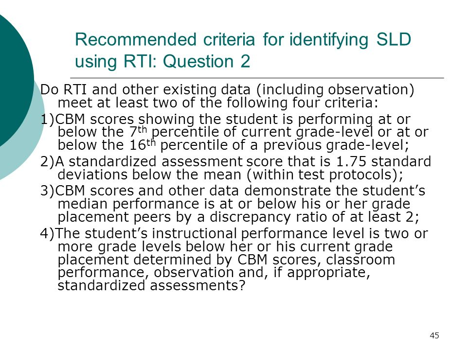 Recommended criteria for identifying SLD using RTI: Question 2