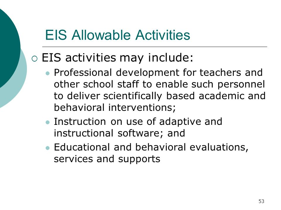 EIS Allowable Activities