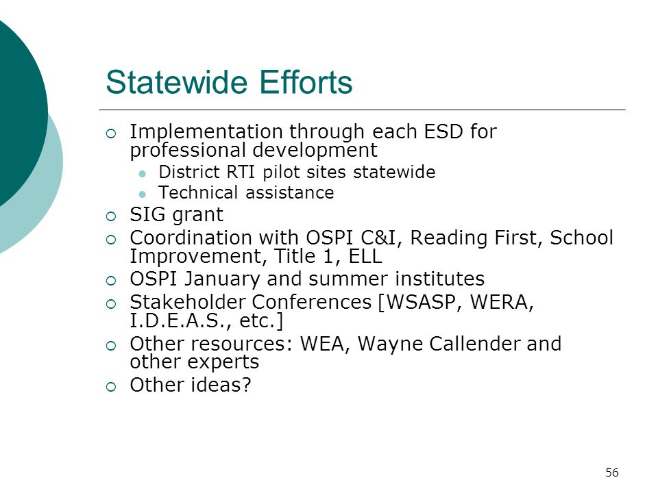 Statewide Efforts Implementation through each ESD for professional development. District RTI pilot sites statewide.