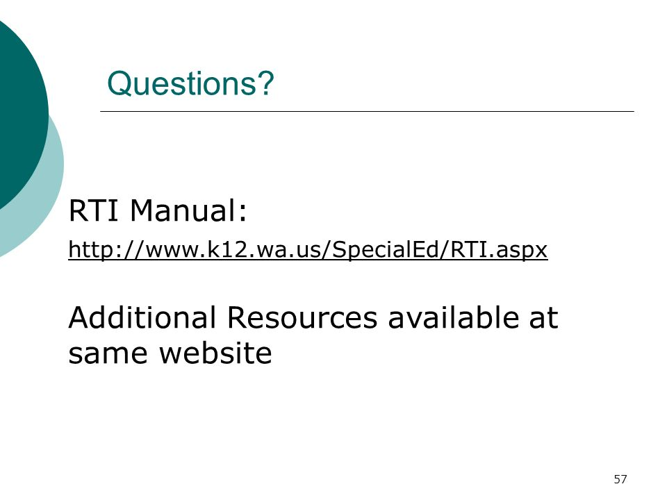 Questions RTI Manual:
