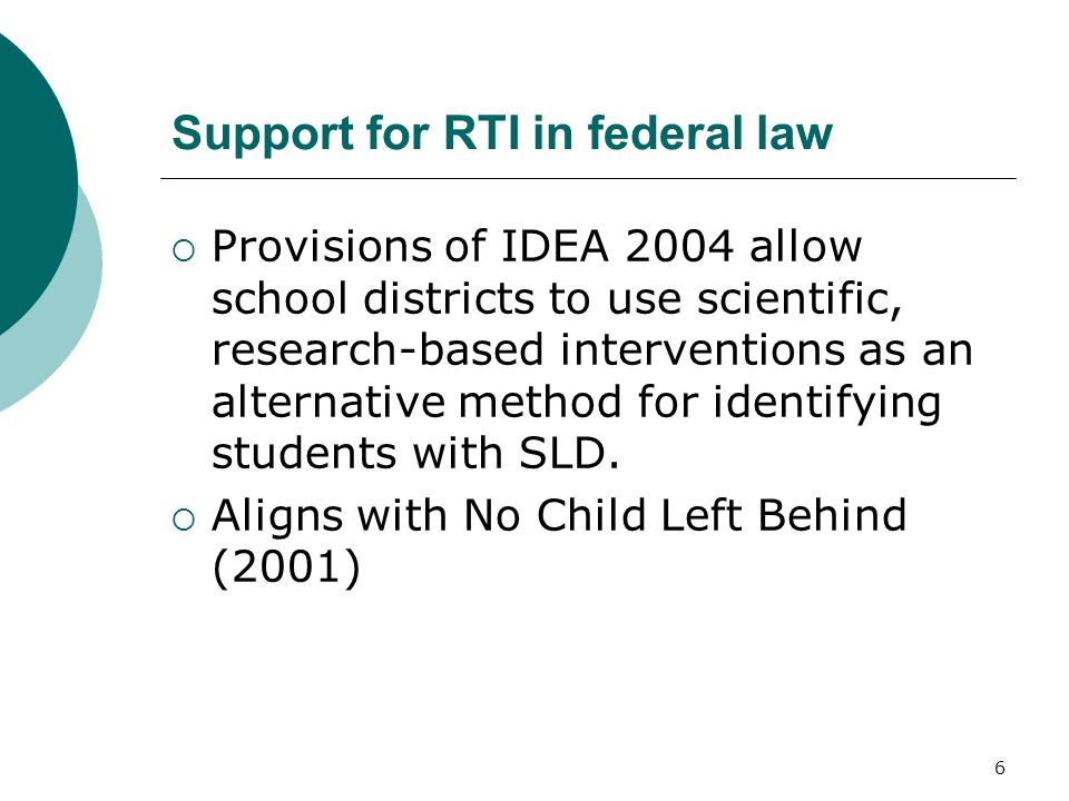 Support for RTI in federal law