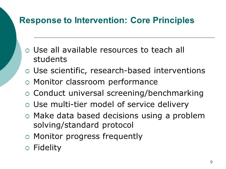 Response to Intervention: Core Principles