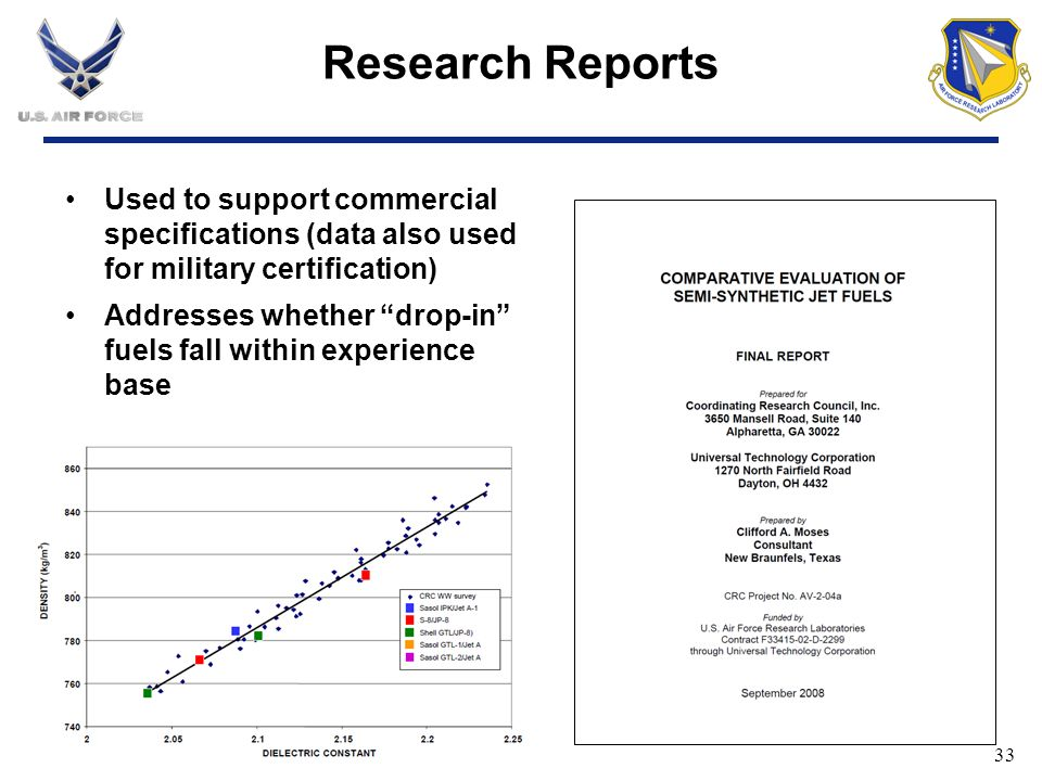 Research Reports Used to support commercial specifications (data also used for military certification)