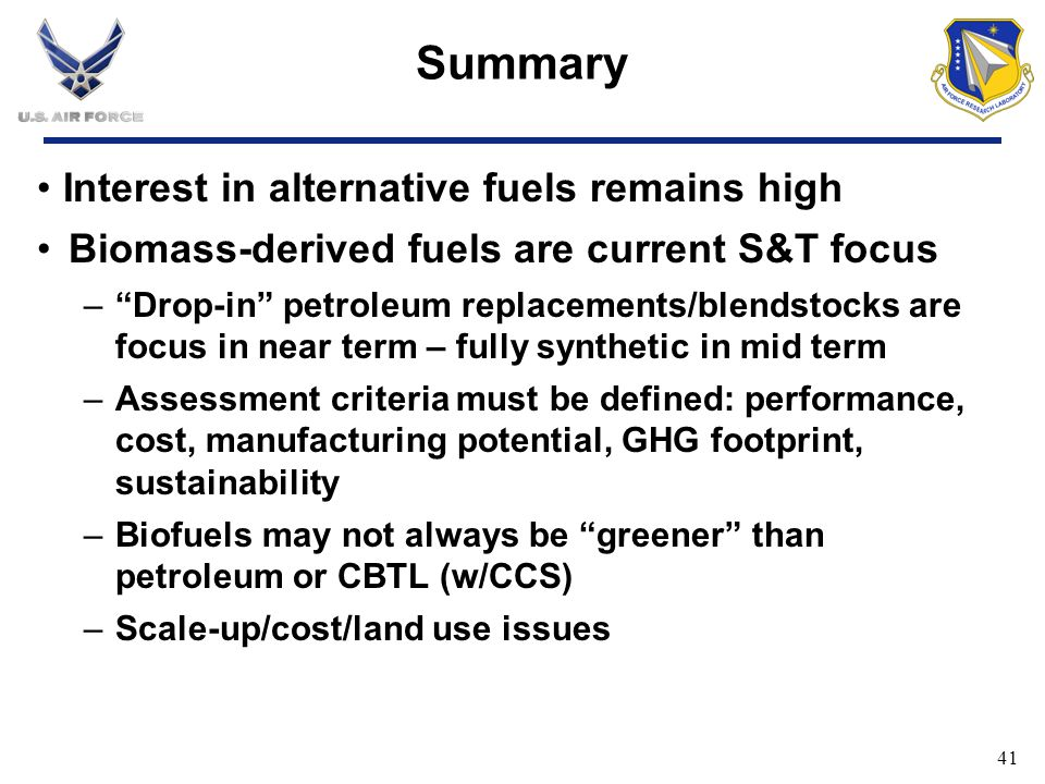 Summary Interest in alternative fuels remains high