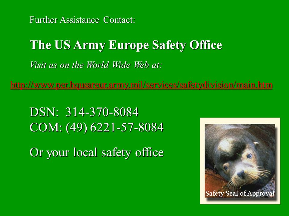 The US Army Europe Safety Office