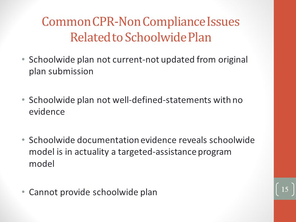 Common CPR-Non Compliance Issues Related to Schoolwide Plan