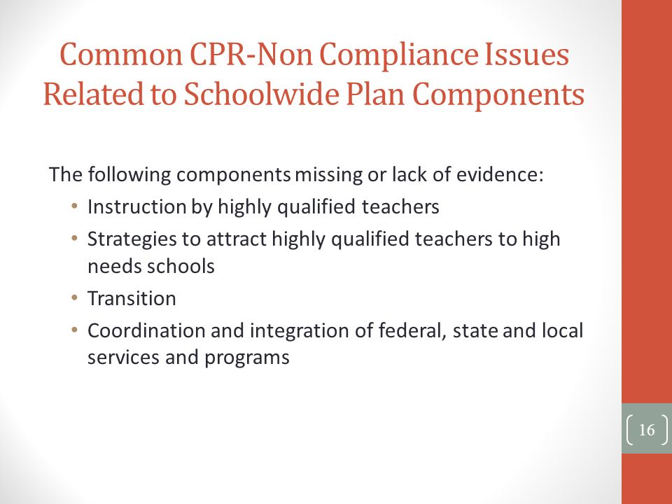 Common CPR-Non Compliance Issues Related to Schoolwide Plan Components