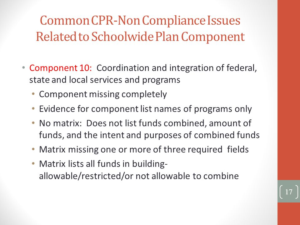 Common CPR-Non Compliance Issues Related to Schoolwide Plan Component